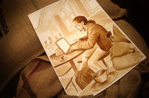Perierga.gr - Ζωγραφίζοντας με καφέ!