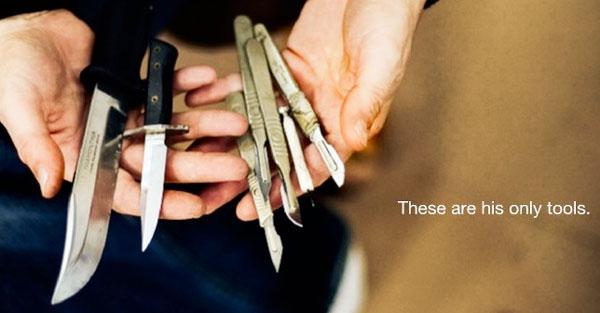 "perierga.gr - ""Επικά"" έργα τέχνης σε δέρμα με μαχαίρια!"