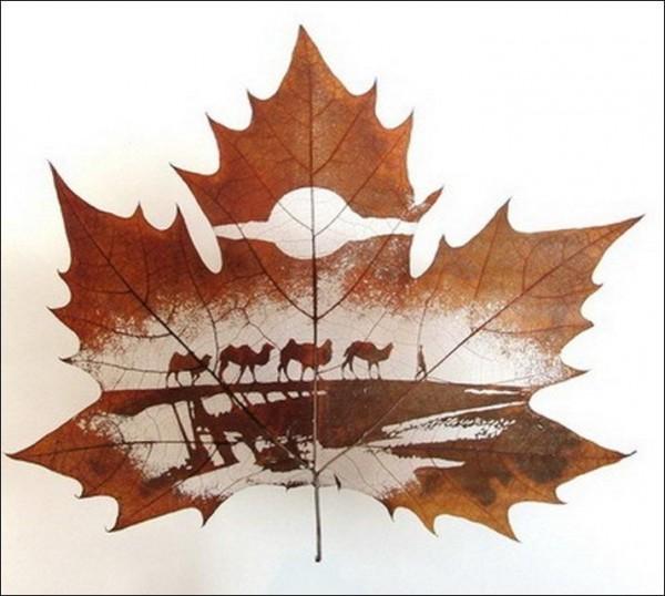 perierga.gr - Ζωγραφική χωρίς χρώματα σε φύλλα δέντρων