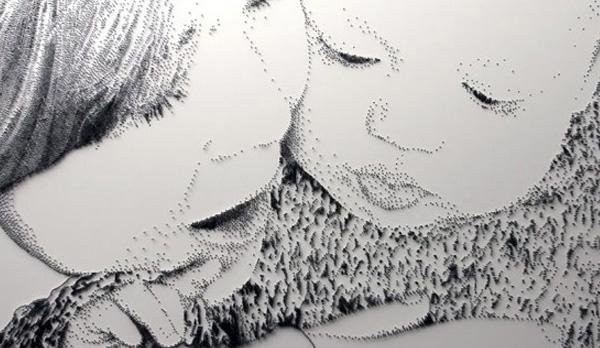 perierga.gr - Ζωγραφίζοντας στους τοίχους με... καρφιά!