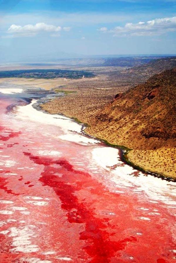 """perierga.gr - Η ασυνήθιστη """"ραγισμένη"""" κόκκινη λίμνη!"""
