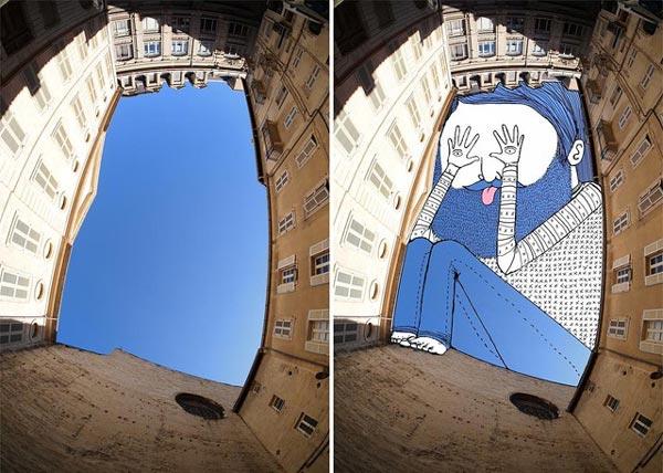 perierga.gr - Sky Art: Ζωγραφίζοντας τον ουρανό ανάμεσα στα κτήρια!