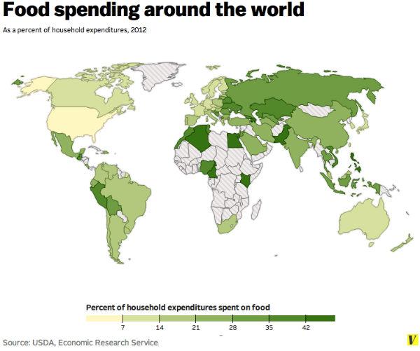 Perierga.gr - Πόσο ξοδεύουν για φαγητό σε κάθε χώρα