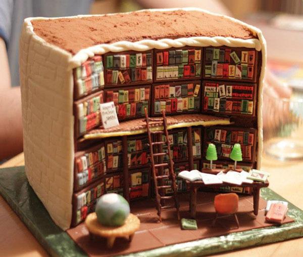 perierga.gr - Τούρτα αναπαριστά με λεπτομέρεια το εσωτερικό βιβλιοθήκης!