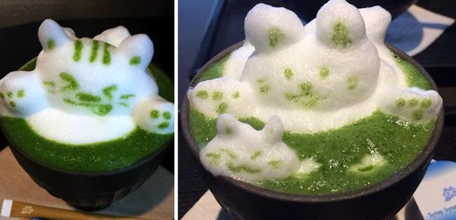 perierga.gr- Τρισδιάστατο αφρόγαλα στο πράσινο τσάι!