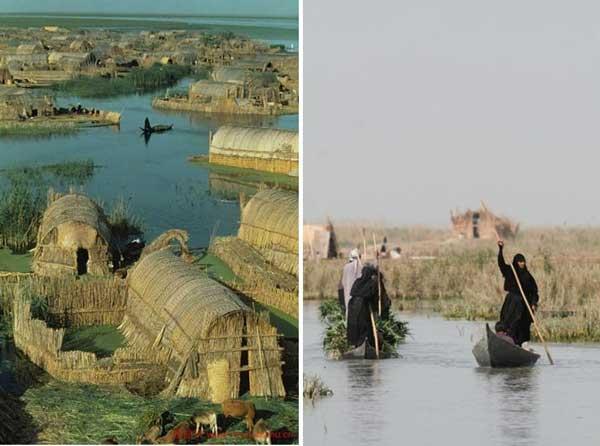 perierga.gr - Τα πλωτά σπίτια από καλάμι στο Ιράκ!