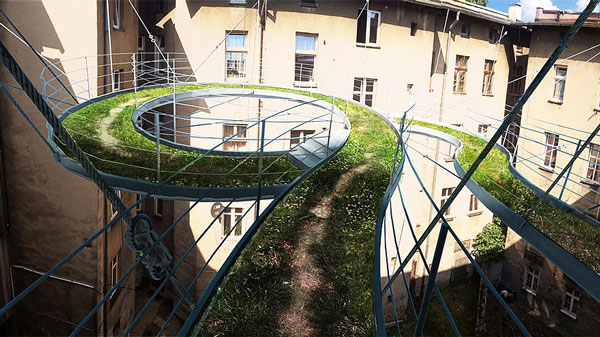 """perierga.gr - """"Πράσινη"""" κυκλική γέφυρα ενώνει γραφεία!"""