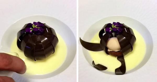 perierga.gr - Σοκολατένιο γλυκό... ανθίζει σαν λουλούδι!