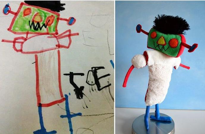 perierga.gr - Παιδικές ζωγραφιές γίνονται... λούτρινα κουκλάκια!