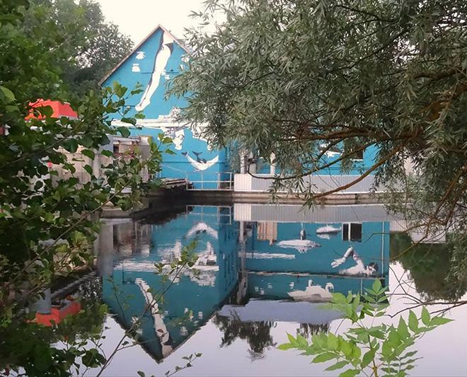 perierga.gr - Aνάποδη τοιχογραφία φαίνεται σωστά με αντανάκλαση στο νερό!