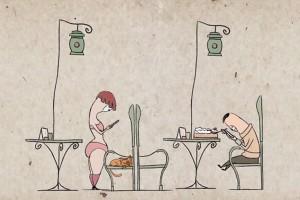 perierga.gr - Αν όλοι ήταν κολλημένοι με το κινητό τους…