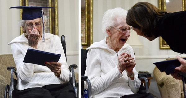perierga.gr - 97χρονη πήρε... απολυτήριο Λυκείου!