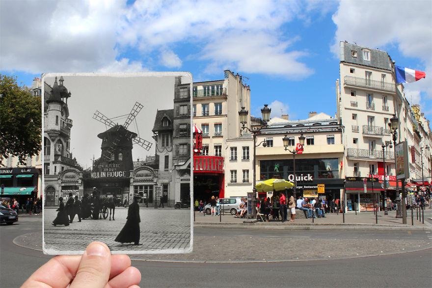 Παλιές & νέες φωτογραφίες του Παρισιού σε μία εικόνα!