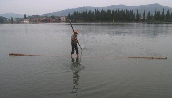 "perierga.gr - ""Σκίζει"" τα νερά του ποταμού ισορροπώντας πάνω σε ένα μπαμπού!"