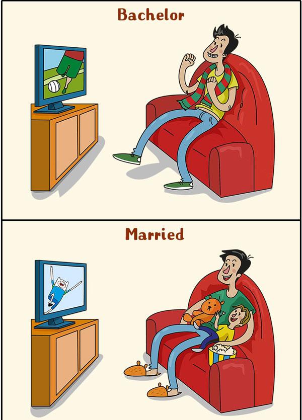 perierga.gr - 10 αστεία σκίτσα δείχνουν τις αλλαγές στη ζωή ενός άντρα μετά το γάμο!