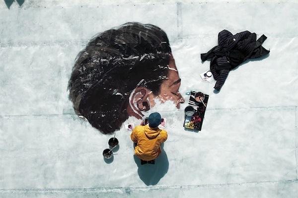 perierga.gr - Ζωγραφική πάνω σε παγόβουνο που λιώνει!