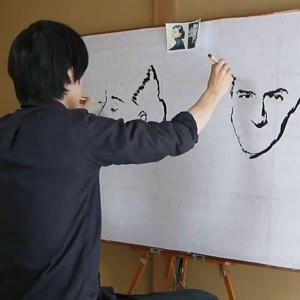 perierga.gr - Καλλιτέχνης ζωγραφίζει ταυτόχρονα 2 πορτρέτα!