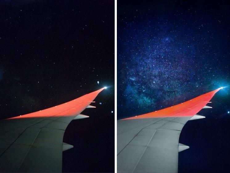 perierga.gr - Φωτογράφισε τον γαλαξία μέσα από το παράθυρο του αεροπλάνου!
