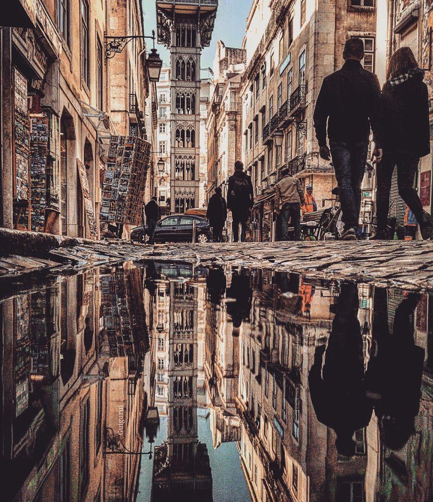 perierga.gr - Φωτογραφίζοντας ανατανακλάσεις στις λακκούβες των δρόμων