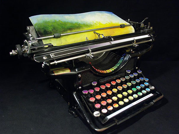 perierga.gr - Μια γραφομηχανή τυπώνει πολύχρωμους πίνακες ζωγραφικής!