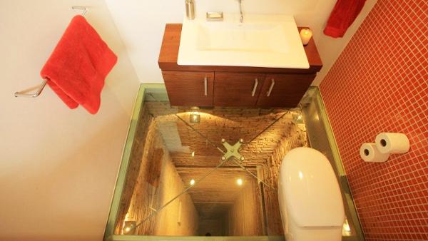 perierga.gr - Ένα μπάνιο μέσα στο... ασανσέρ!
