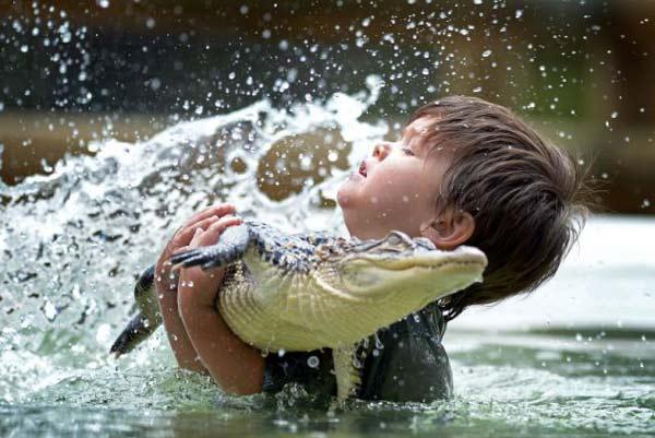 perierga.gr - 3χρονο αγόρι... παίζει με έναν αλιγάτορα!