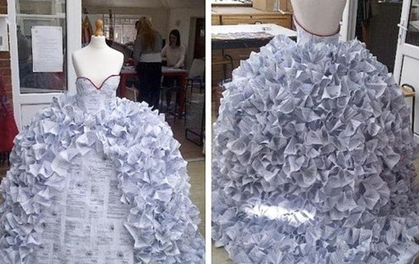 perierga.gr - Έφτιαξε νυφικό από χαρτιά διαζυγίων!