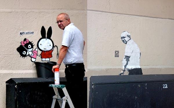 perierga.gr - Άντρας αφαίρεσε το γκράφιτι έγινε ο ίδιος… γκράφιτι στον τοίχο!