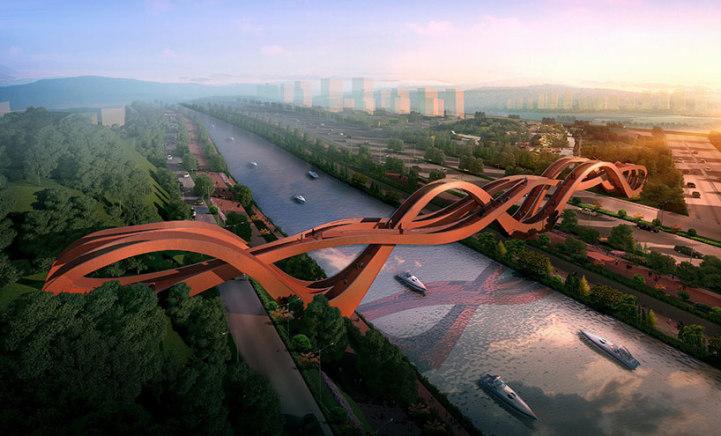 perierga.gr - Αναδιπλούμενη πεζογέφυρα παίρνει διάφορα σχήματα!