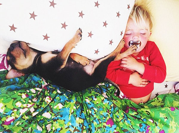 perierga.gr - Μωρό κοιμάται με το κουτάβι του!
