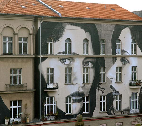 perierga.gr - Πορτρέτα αλλάζουν την πρόσοψη τριώροφου κτηρίου!