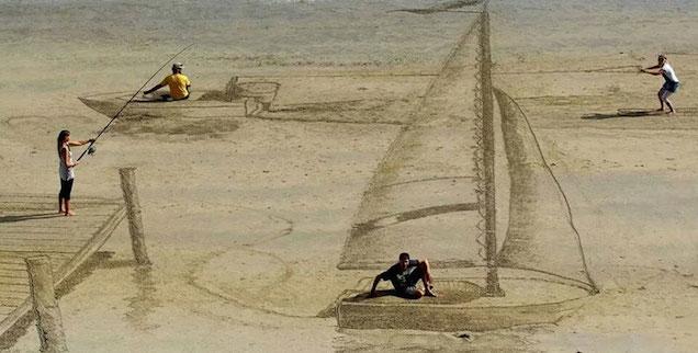 perierga.gr - Εκπληκτικές τρισδιάστατες οπτικές ψευδαισθήσεις στην παραλία!