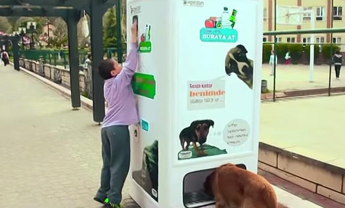 perierga.gr - Αυτόματη μηχανή πώλησης ανακυκλώνει μπουκάλια με… τροφή για αδέσποτα!