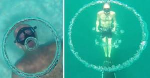 perierga.gr - Δύτης δημιουργεί τεράστια «δαχτυλίδια» νερού υποβρυχίως! (βίντεο)