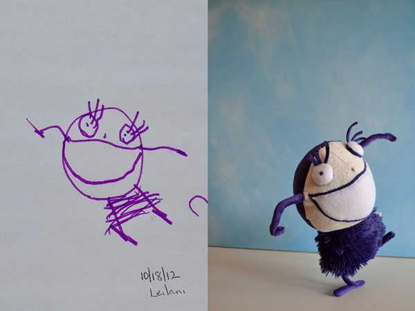 perierga.gr - Μαμά μετατρέπει τις ζωγραφιές του γιου της σε λούτρινα!
