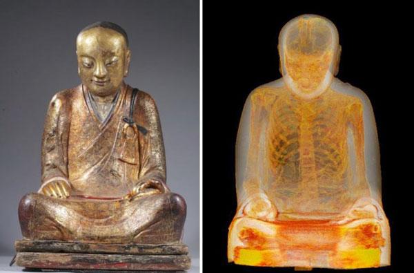 perierga.gr- Μούμια μοναχού μέσα σε άγαλμα του Βούδα!