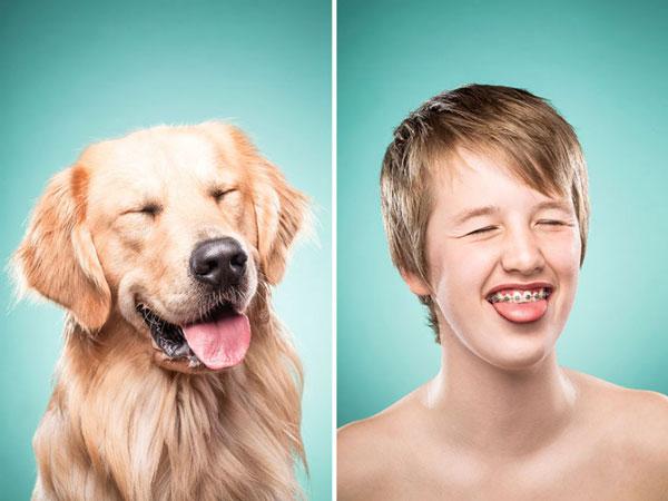 perierga.gr - Άνθρωποι ποζάρουν σαν τα σκυλιά τους!