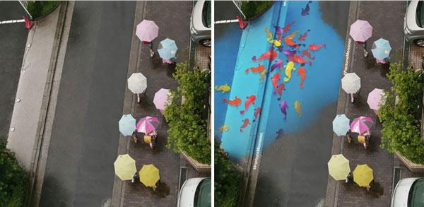 perierga.gr - Ζωγραφιές στους δρόμους εμφανίζονται μόνο όταν βρέχει!