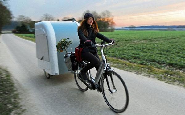 perierga.gr - Μίνι τροχόσπιτο για... ποδήλατο!
