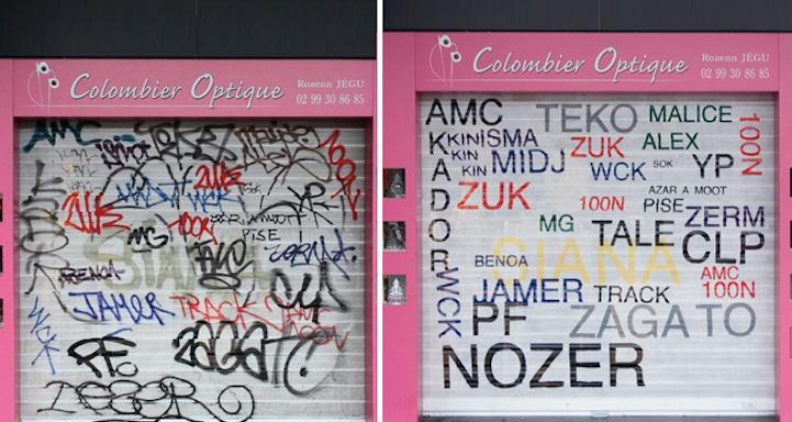 perierga.gr - Καλλιτέχνης του δρόμου... διορθώνει τα άσχημα γκράφιτι!