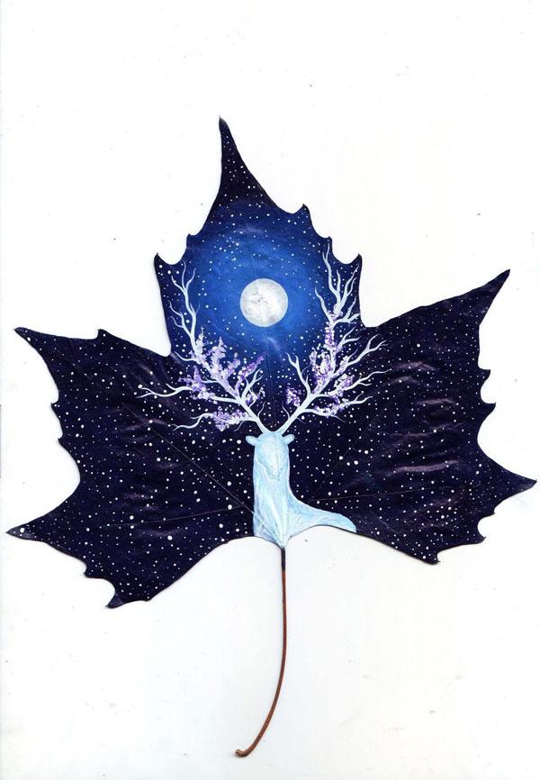 perierga.gr - Ζωγραφική πάνω σε φύλλα δέντρων!