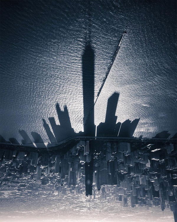 perierga.gr - Η σκιά των Πύργων του Σικάγου πάνω στη λίμνη Μίσιγκαν!