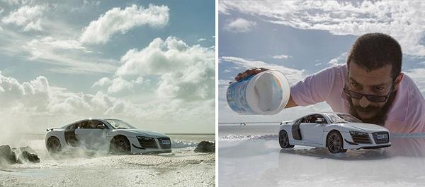 perierga.gr - Φωτογραφίζοντας ένα πανάκριβο αυτοκίνητο χρησιμοποιώντας μια... φτηνή μινιατούρα!