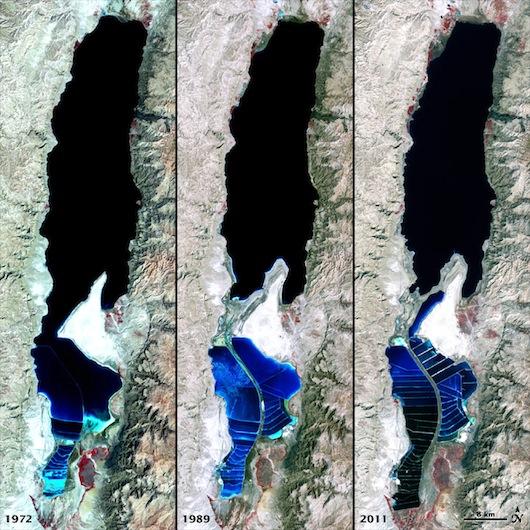 perierga.gr - Η Νεκρά Θάλασσα πεθαίνει όπως φαινεται από φωτό της NASA