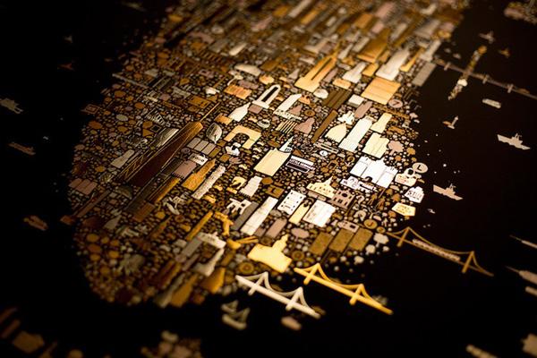 Perierga.gr-Χρυσός χάρτης του Μανχάταν εμπνευσμένος από τον Gustav Klimt