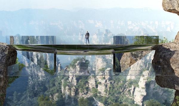 perierga.gr - Γυάλινη γέφυρα ενώνει δύο βράχους σε μεγάλο ύψος