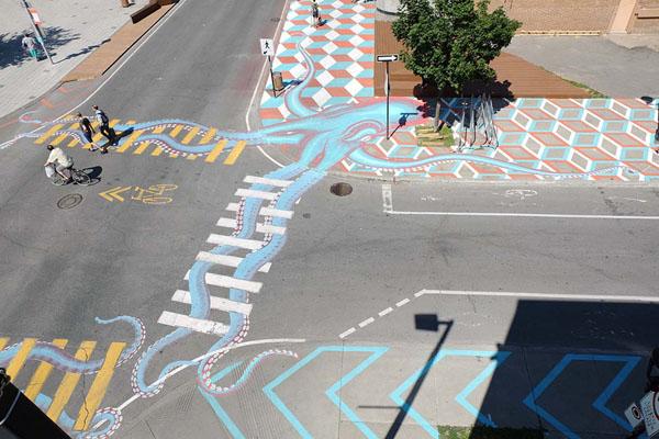 Perierga.gr-Καλλιτέχνης της...ασφάλτου διακοσμεί τους δρόμους με εντυπωσιακά γκράφιτι