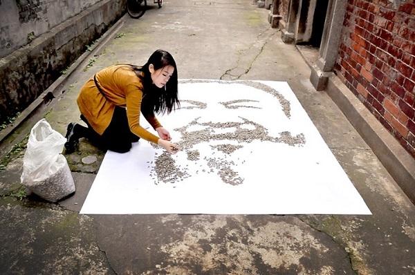 "perierga.gr - ""Ζωγραφίζοντας"" ένα πορτρέτο με 20.000 σπόρους!"