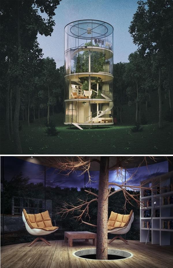perierga.gr - Κατασκευές που δημιουργήθηκαν γύρω από δέντρα