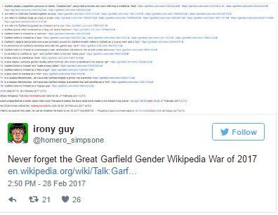 perierga.gr - Καβγάς για το φύλο του... Γκάρφιλντ στη Wikipedia!